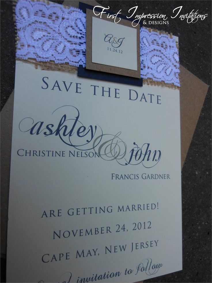 civil wedding invitation card%0A Burlap Wedding Save the Date  Navy Blue and Kraft Brown