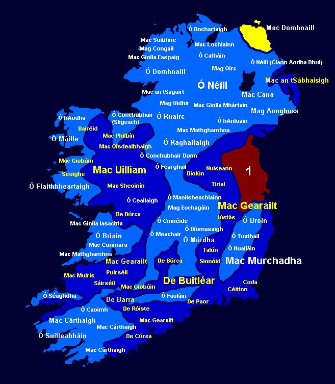 Yellow Territory = Scottish Clan - Mac Domhnaill / Mac Dhòmhnuill  Light Blue Territory = Native Irish (Main Clans highlighted in white).  Blue Territory =  Anglo-Normans who adopted the Irish Language, Irish customs and Irish laws and also Irish names; for example FitzGerald became Mac Gearailt, de Burgo became de Búrca or also Mac Uilliam, FitzGibbon became Mac Giobúin, de Courcy became de Cúrsa and so on. They became the Hiberno-Normans (Main Clans highlighted in yellow).