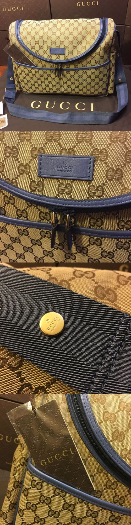 baby and kid stuff: New Gucci Original Gg Canvas Baby Boy Diaper Bag Blue Trim And Strap BUY IT NOW ONLY: $1073.95