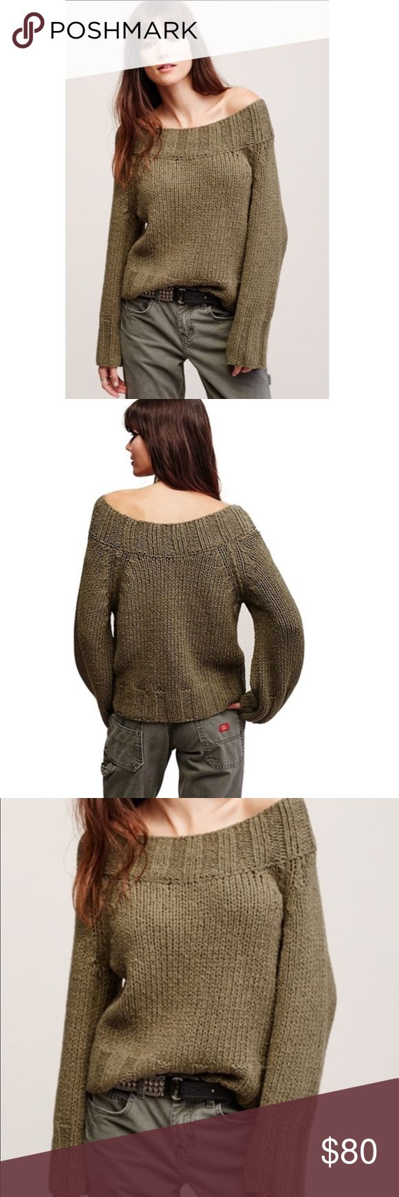 FREE PEOPLE SLOUGY KNIT SWEATER SALE💗💗 GREAT KNIT will fit a Small as well as XS. Thicker KNIT. Wear off one Shoulder or both. Banded Bottom and Top. Beauty!! Very well made!! *️⃣PRICE is FIRM unless Bundled. NO OFFERS PLEASE . COLOR is Olive. Free People Sweaters Crew & Scoop Necks