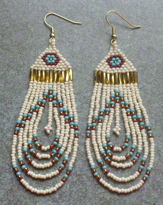 Native American Rounded Fringe Earrings    ~~~  Great color combination for a matching necklace!