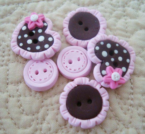 Choco Heart with Lace Trim Handmade Polymer by RainbowDayHappy, $6.50
