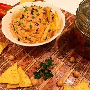 Házi sült paprikás hummusz