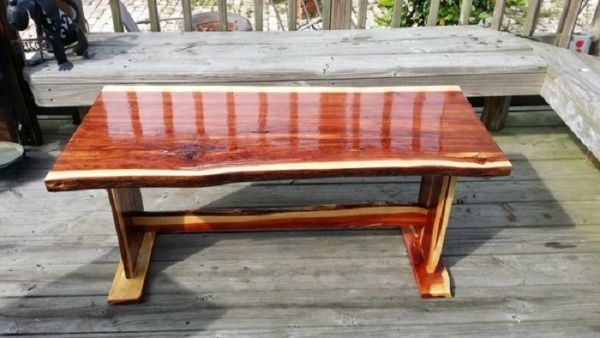 Live edge red cedar coffee table | WoodworkerZ.com