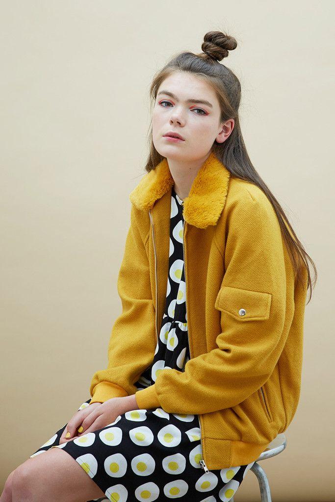 Wool Bomber Jacket Mustard