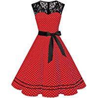 misshow damen elegant 1950er rockabilly kleid spitzenkleider