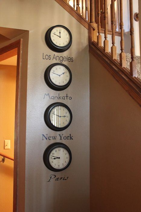 Hang clocks dedicated to the time zones of loved ones and cities/countries you dream of visiting! :)