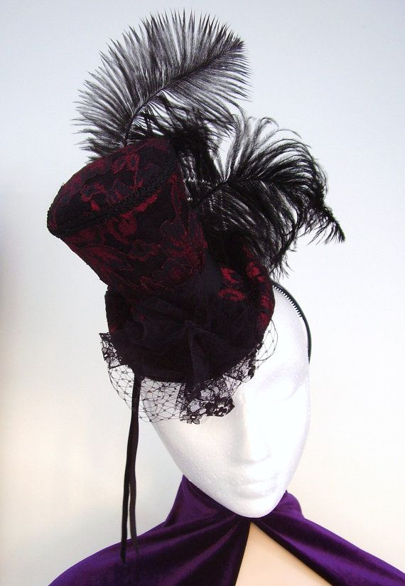 Black lace or Dark red brocade lace 1/4 size ladies red lace mini top hat fitted with lace corsage, birdcage veil, grosgrain velvet ribbon and 2 sooty