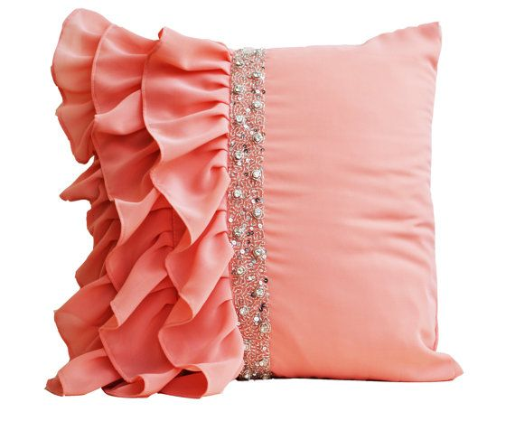 Peach ruffled throw pillow cover  Ruffle pillow  by AmoreBeaute