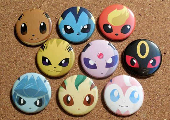 "** READ SHIPPING INFO BELOW BEFORE PLACING YOUR ORDER! **  This 1.5"" (3.81cm) EEVEELUTION BUTTON SET comes with the following 9 fan art pins with"