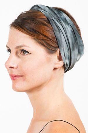 Foudre - Bandeau à cheveux Tie&Dye Gris noué croisé devant
