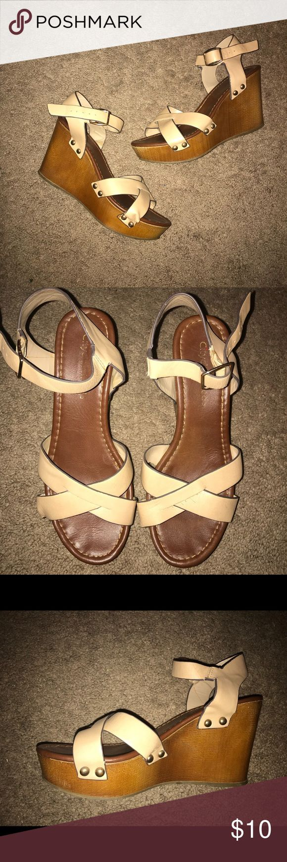 Cream Wedges Comfy, cream colored wedges. Great for Spring & Summer with a sun dress or cropped white jeans. Gently worn, still in good condition. Shoes Wedges