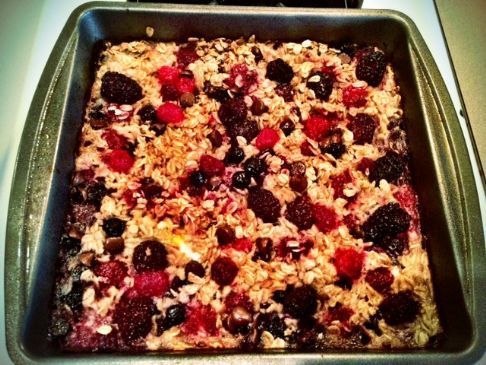 Prepare overnight and you can have for breakfast the next day. This recipe can be gluten free by choosing gluten free oats which is what I chose.  I also chose organic, cage free brown eggs, organic milk (no hormones or antibiotics) and I was able to use berries from my backyard.