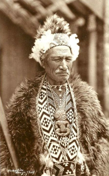 New Zealand | Maori Chief Rangitira Anawa ~ scanned postcard; published in the 50s