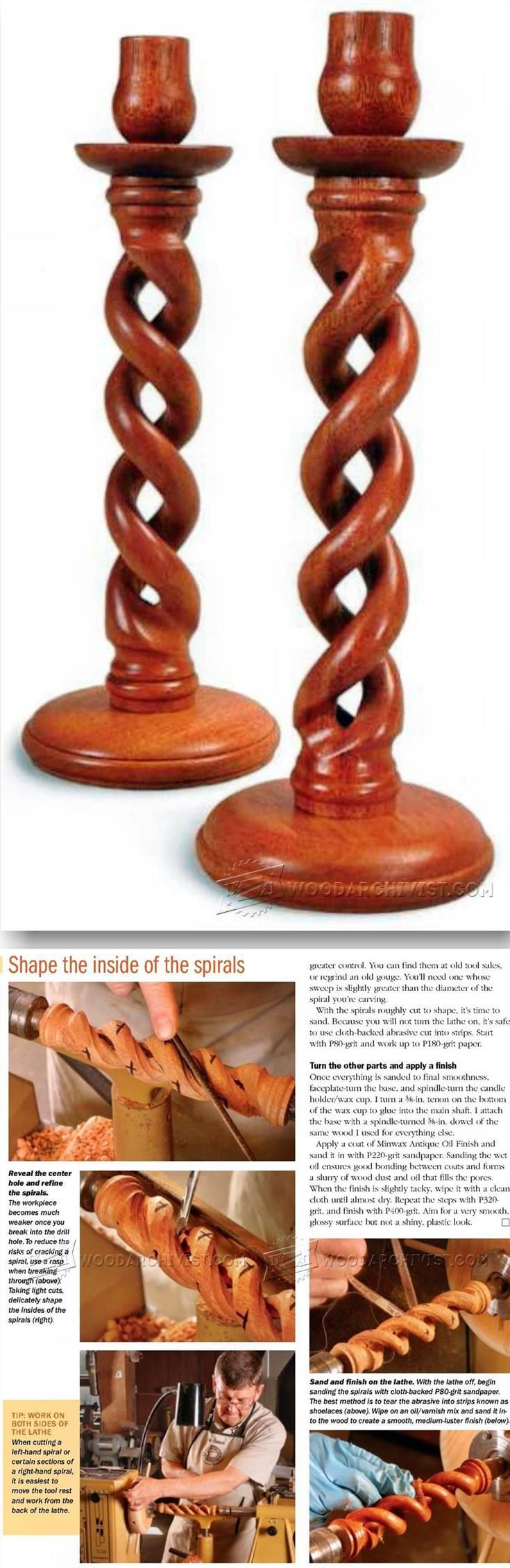 Woodturning Barley Twist Candlestick - Woodturning Projects and Techniques | WoodArchivist.com