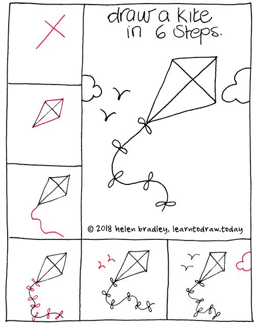 How To Draw A Flying Kite Doodles Drawings Easy Drawings