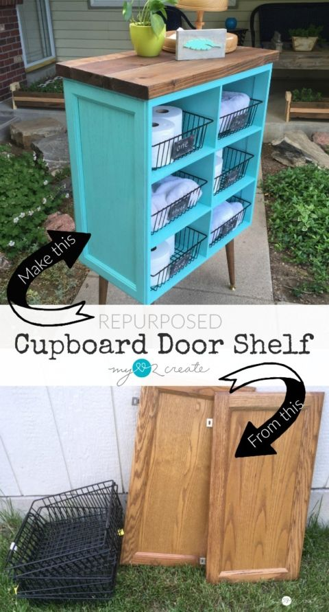 Repurposed Cupboard Door Shelf - instead of building from acre arch, use an old kitchen cabinet saved from a remodel!