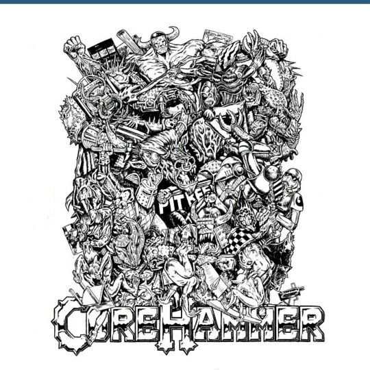 Moshpit for Corehammer 13'x18' brush and ink on paper by Nerdgore