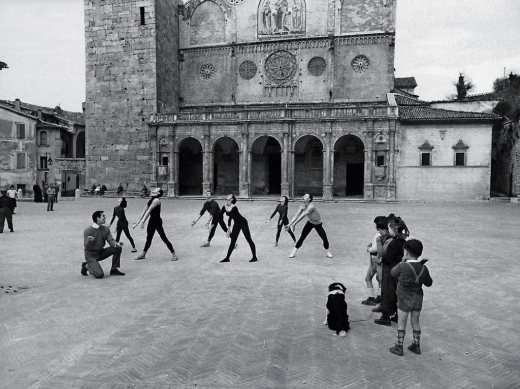 Dancers rehearse in the Piazza del Duomo during the inaugural performing arts festival in Spoleto in 1958. Time & Life Pictures