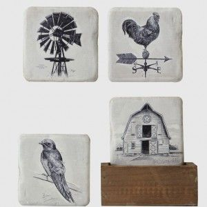 Farmhouse Coasters in Wood Box Holder