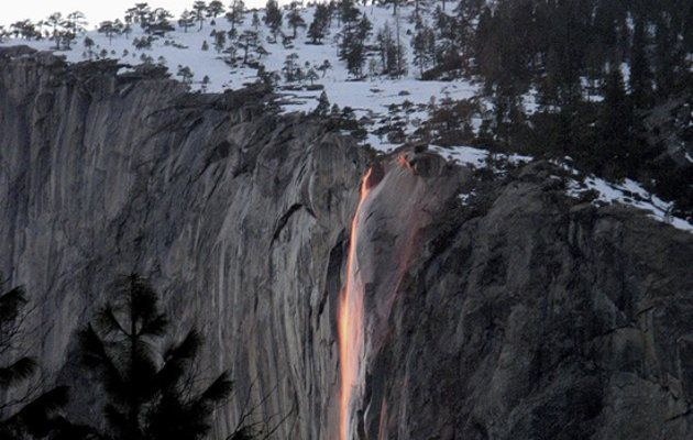 Every February Yosemite waterfall turns to lava~~~This marvel of celestial configuration happens in a flash at sunset in mid-February — if the winter weather cooperates. On those days the setting sun illuminates one of the park's lesser-known waterfalls so precisely that it resembles molten lava as it flows over the sheer granite face of the imposing El Capitan.