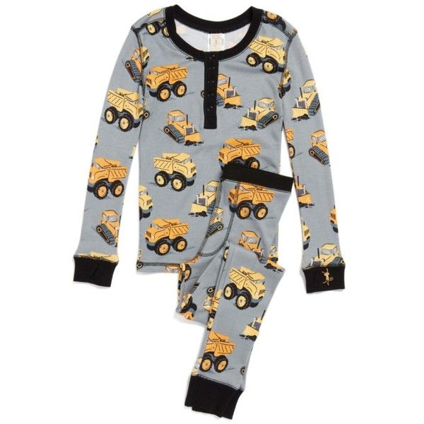 Boy's Munki Munki Construction Trucks Fitted Two-Piece Pajamas ($25) ❤ liked on Polyvore featuring men's fashion, men's clothing, men's sleepwear and grey construction trucks