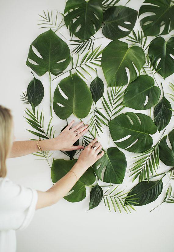 diy leaf backdrop