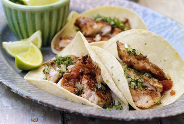 Even I would eat this, healthy as it is: Grilled Red Snapper Tacos