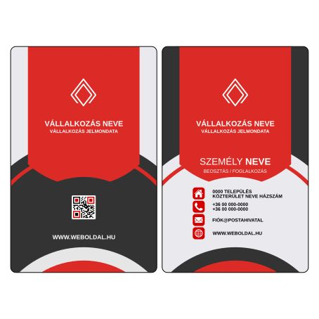 Üzleti névjegykártya tervek (álló elrendezés) Vörös / Fekete