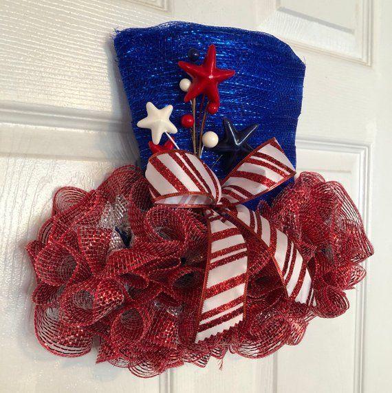 """Blue//Red 13"""" x 15"""" Handmade Patriotic//4th Deco Mesh Uncle Sam Hat Door Hanger"""