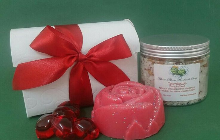 Saint Valentine's gift set!  Handmade rose soap, bath salts and bath oils all in a gift box! www.bloom-bloom.com