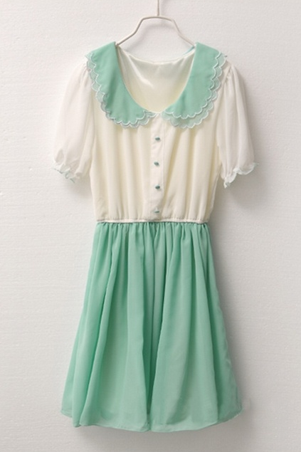 contrast coloured peter pan collar pleated chiffon dress. Love the scallops..has all my fave thing just needs lace!
