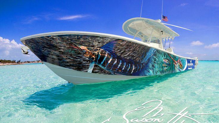 Jason Mathias, Arts, Sea Boat, Fish, Sea, Boat, Marlin, Jason Mathias Marlin Wraps on Boat
