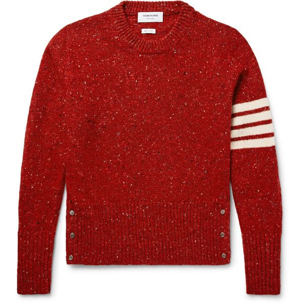 Thom Browne Striped Mélange Wool and Mohair-Blend Sweater ($890) ❤ liked on Polyvore featuring men's fashion, men's clothing, men's sweaters, mens short sleeve sweater, mens woolen sweaters, mens button up sweater, mens striped sweater and mens wool sweaters
