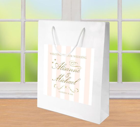20 Wedding Welcome Bags, Pale Stripe & Gold Text label on a gloss white bag. hotel guest hospitality gift bag, wedding favor, goody bags