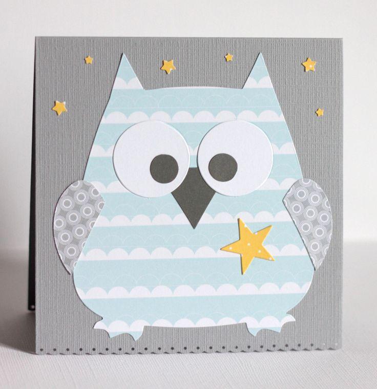 Carte hibou pour félicitations naissance, coloris gris, bleu et jaune : Cartes par latelierdesconfettis