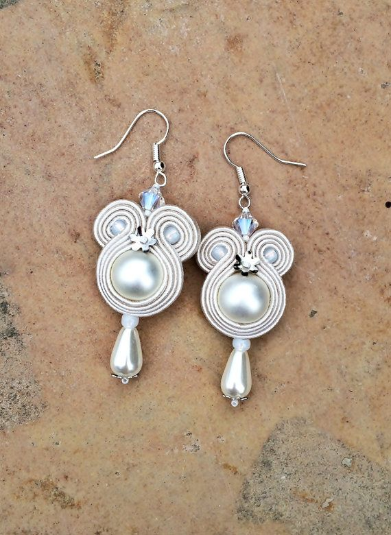 pearl bridal soutache earrings in off white by AtelierMagia