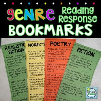 FREEBIE  Reading Response Genres Bookmarks  Use these fantastic bookmarks to get your students to think deeper as they answer higher order questions related to different genres while reading independently.  Simply print on colored card stock.  Students can independently answer preferred questions in their reading response notebooks.
