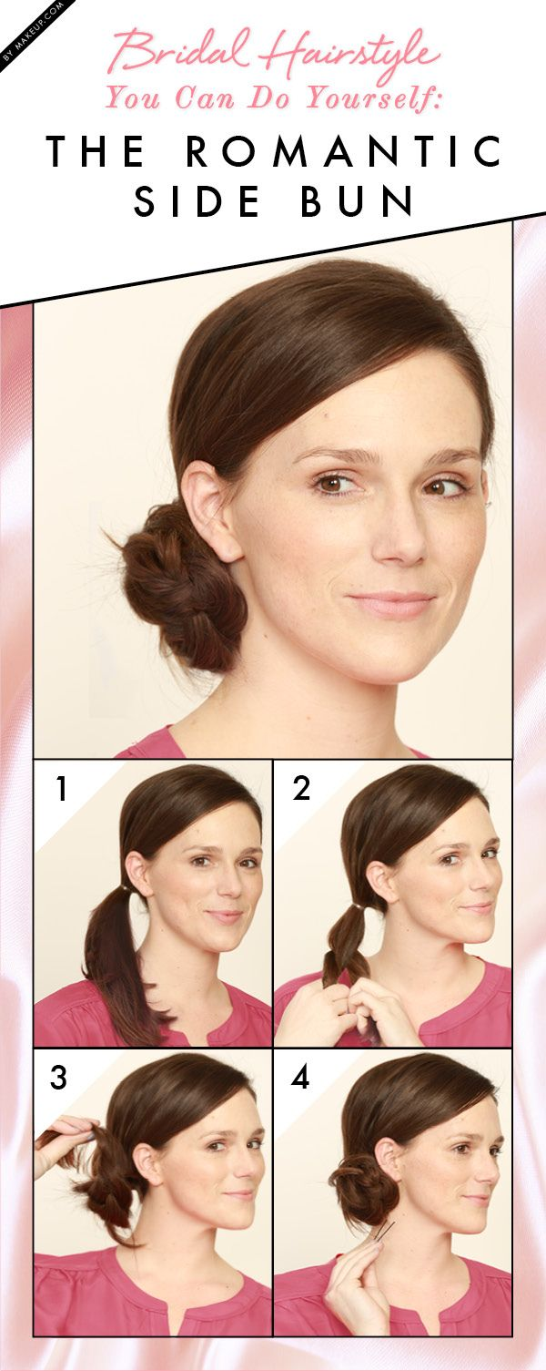 Bridal hairstyle you can do on yourself the romantic side bun side