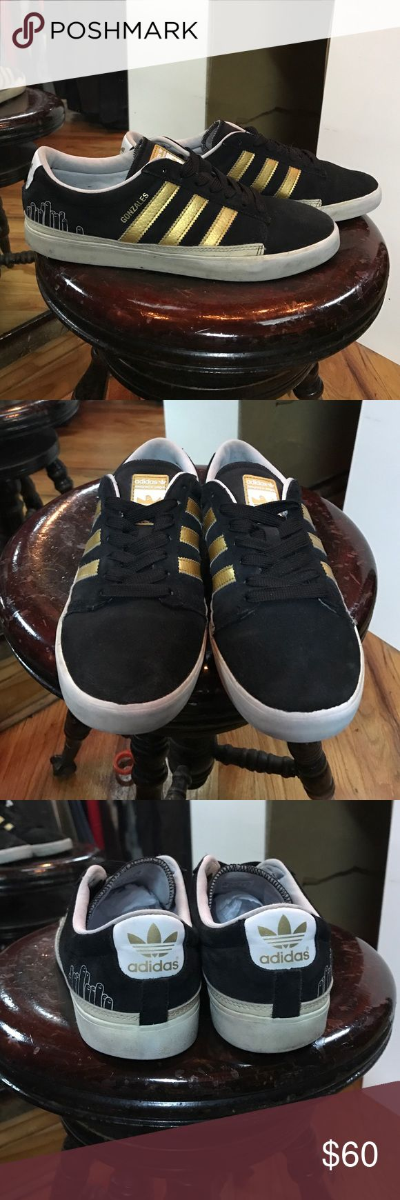 Adidas + Gonz RARE sneakers Adidas + Gonz RARE sneakers. Black suede with gold stripes. Hard to find flawless condition! Adidas Shoes Sneakers