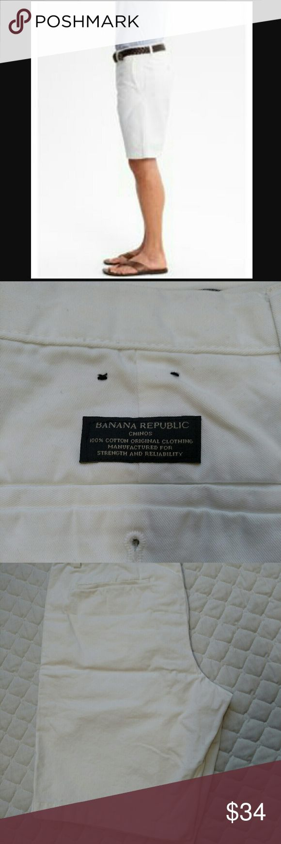 Banana Republic men's Chino white shorts 34 Unused men's Chino shorts.  Bright white (surprisingly hard to capture in a pic!). Banana Republic Shorts Flat Front