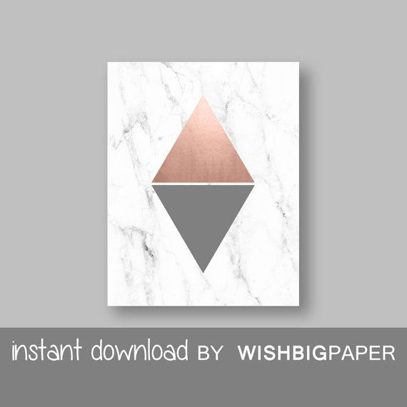 Rose Gold Grey Marble Modern Triangle Printable Wall Art Print-Instant…