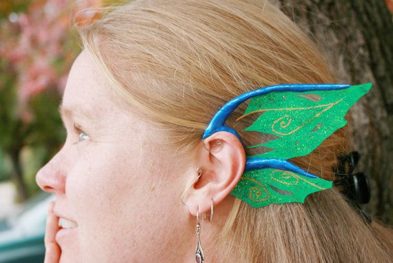 Blue Green ear wings, dragon or water fairy costume ears