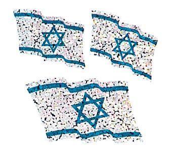 Jillson & Roberts Bulk Roll Prismatic Stickers, Israeli Flags (100 Rep – Present Paper