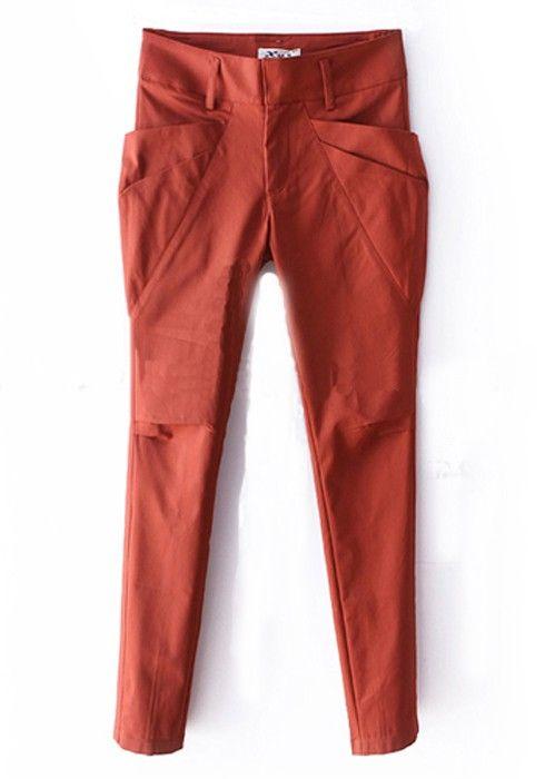 ++ Orange Mid Waist Cotton Pants