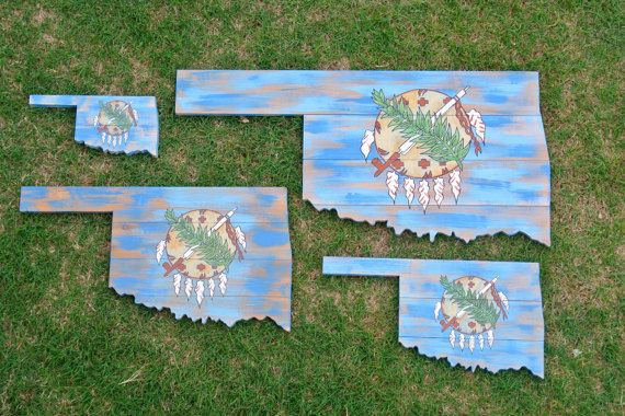 Oklahoma State Flag Wood Painted State Shape by 3NailsDesigns