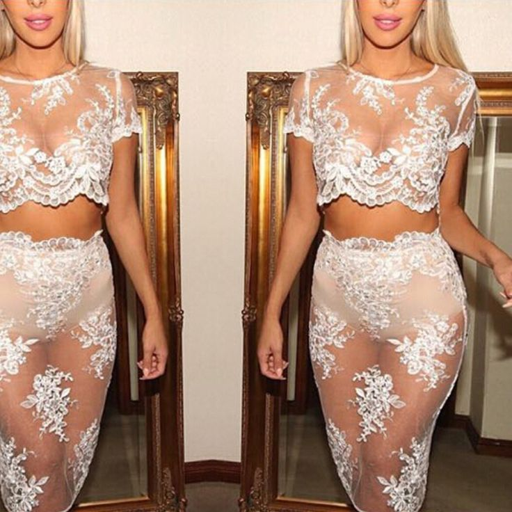 Two piece see through mesh dress