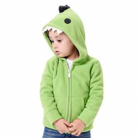子供たちはジップスウェットシャツフリーススタイルのためのコスプレ緑の恐竜パーカー   Sweatshirtxy.com