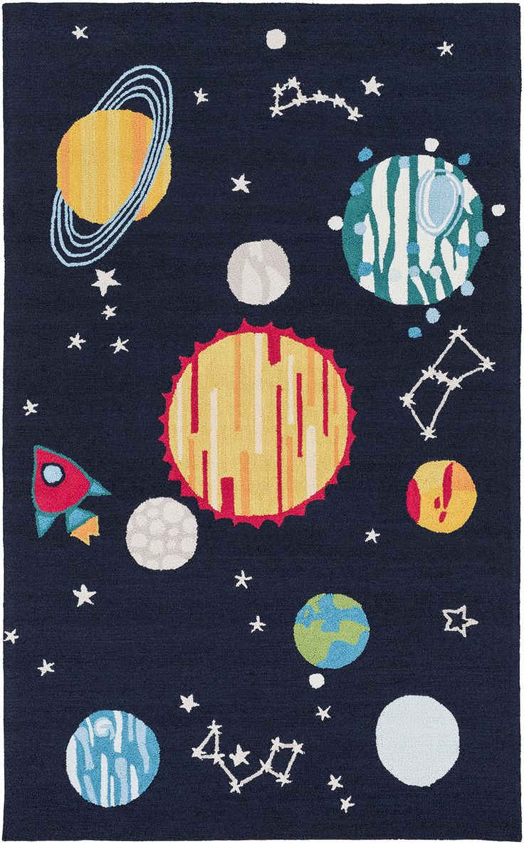 Let your kid's imagination run wild with this solar system rug from Surya's Peek-A-Boo collection! (PKB-7009).