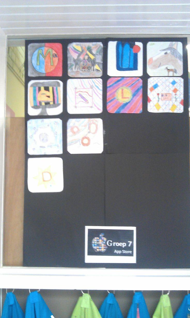 Iedere leerling ontwerpt een app-logo die bij hem of haar past. Plak ze op een groot zwart vel en klaar is de groeps-tablet!